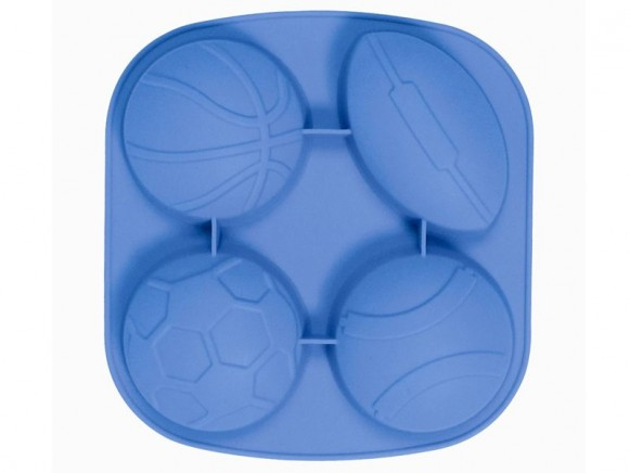 4 ball shaped silicone baking mold in blue by RICE