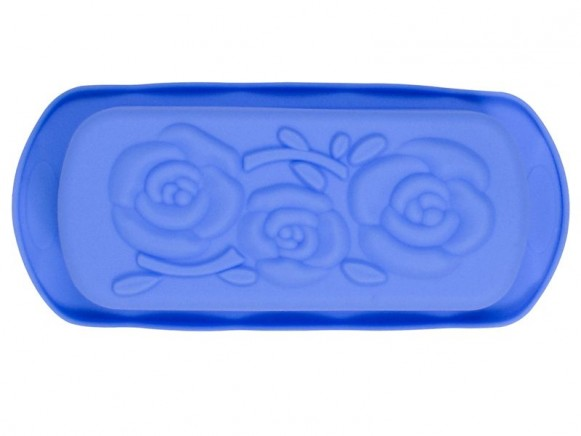 Rectangular flower silicone baking mold in blue by RICE