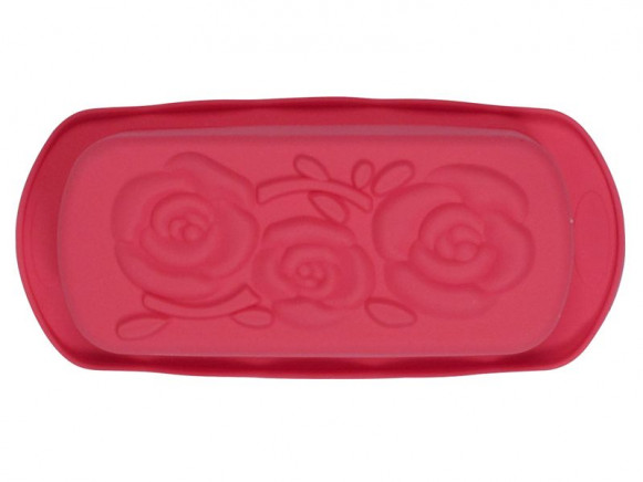 Rectangular flower silicone baking mold in red by RICE