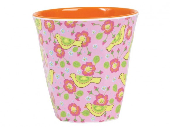 Melamine cup two tone with bird print by RICE