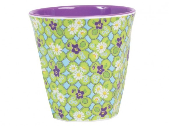 Melamine cup two tone with clover print by RICE
