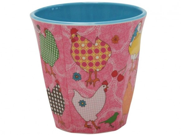 Pink melamine cup two tone with hen print by RICE
