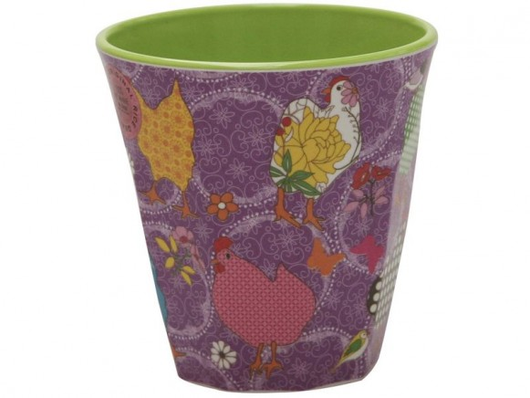 Purple melamine cup two tone with hen print by RICE