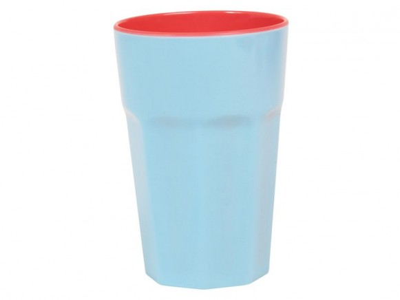 Melamine 2 tone latte cup in mint / coral by RICE