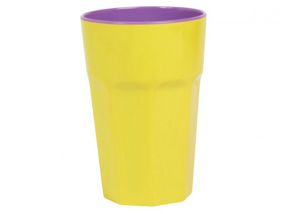 Melamine 2 tone latte cup in yellow / purple by RICE