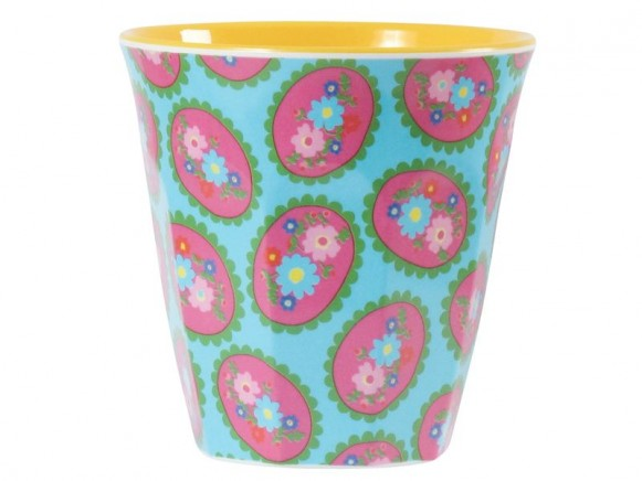 Melamine cup two tone with cameo print by RICE