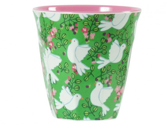 Melamine cup two tone with green dove print by RICE