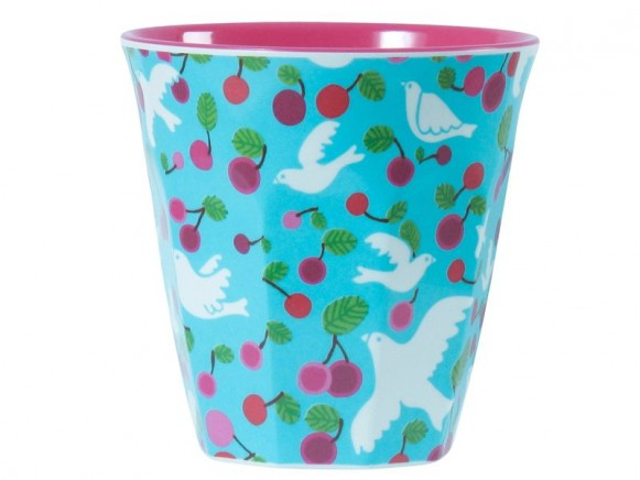 Melamine cup two tone with turquoise dove print by RICE
