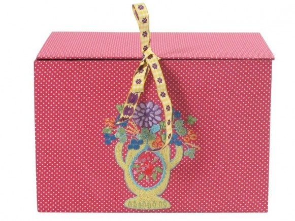 Fabric covered rectangular box in pink with embroidery by RICE