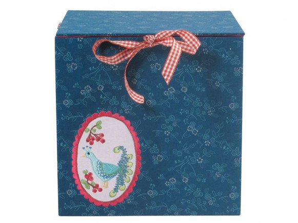 Fabric covered square box in peacock green by RICE
