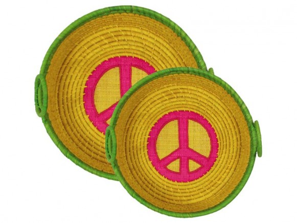 Round yellow bread basket with peace application by RICE
