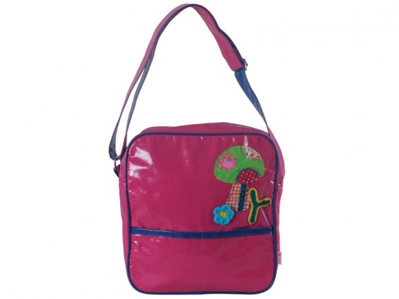 Fuchsia biker bag with mushroom application by RICE