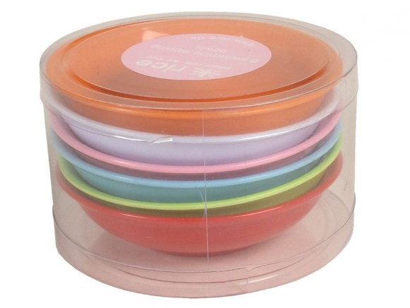 6 melamine dipping bowls in bright colours by RICE