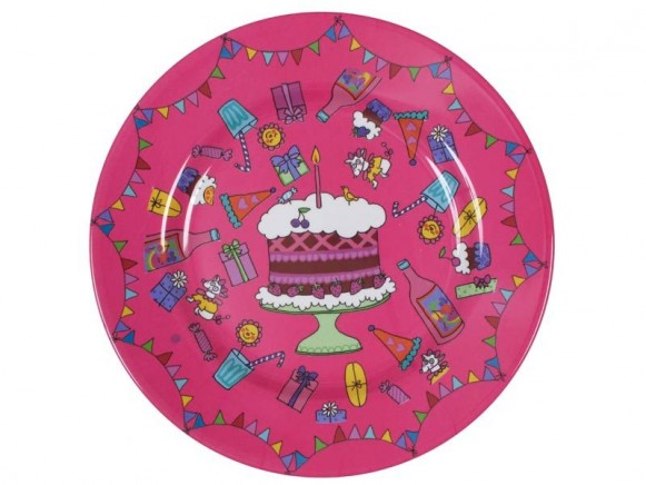 Happy birthday melamine cake plate in fuchsia by RICE