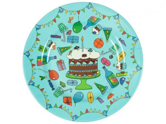 Happy birthday melamine cake plate in turquoise by RICE