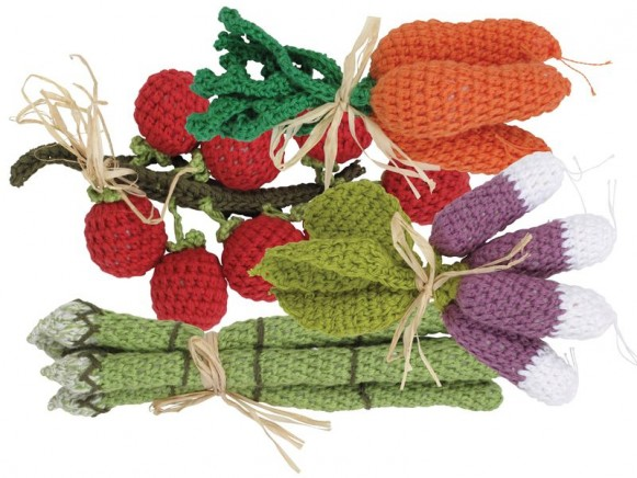 Assorted hand crochet fruit and vegetables by RICE Denmark