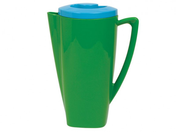 Green plastic jug with turquoise lid by RICE