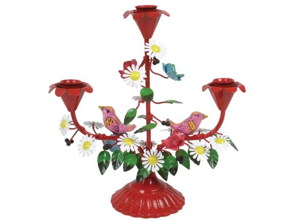 Handpainted red 3 arm metal candle holder with birds by RICE