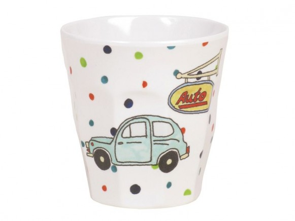 Kids small melamine cup with vehicle print by RICE