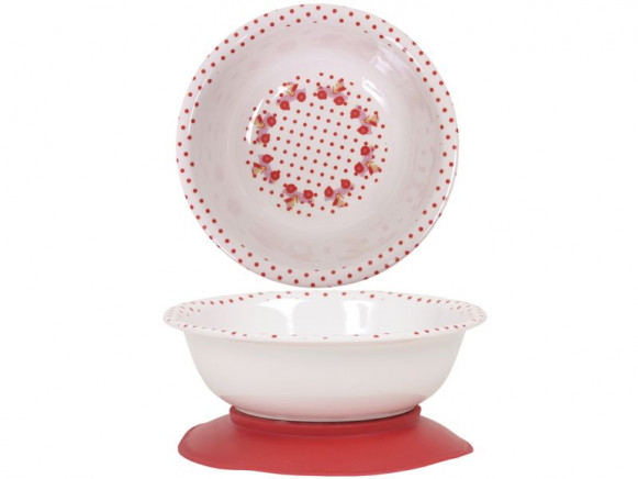 Baby melamine bowl with girl in car print by RICE