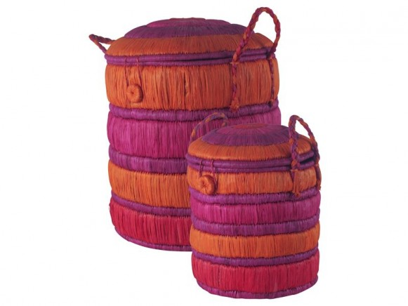 Round raffia basket in orange / fuchsia / red by RICE (Set of 2)