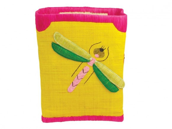 Large toy basket for girls by RICE (yellow with insects)