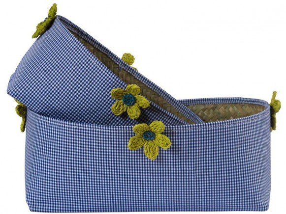 Oval basket in blue check fabric with raffia flowers by RICE
