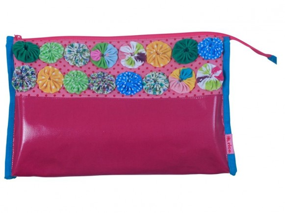 Toiletry bag with fabric flowers in fuchsia by RICE