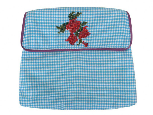 Makeup purse in blue with cross stitched flower by RICE