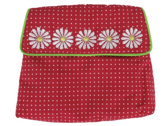 Makeup purse with dots and embroidery in red by RICE