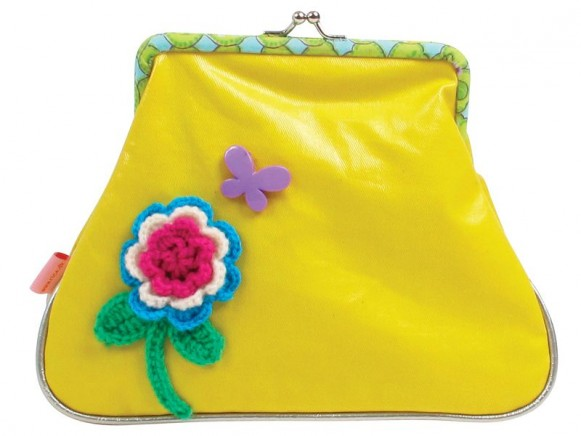Large makeup purse in yellow fake leather by RICE