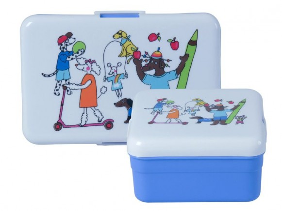 Kids lunch box for boys with playing dog by RICE - Set of 2