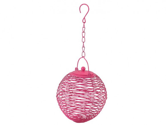 Globe shaped bird feeder in pink by RICE