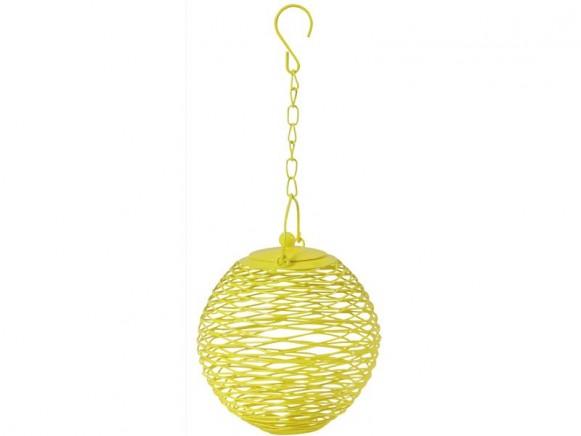 Globe shaped bird feeder in yellow by RICE