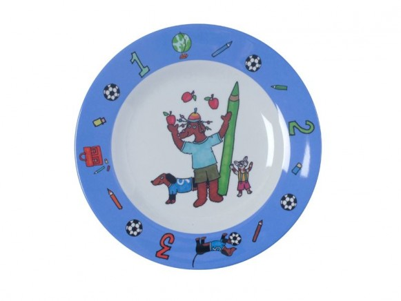 Kids melamine lunch plate with playing dogs for boys by RICE