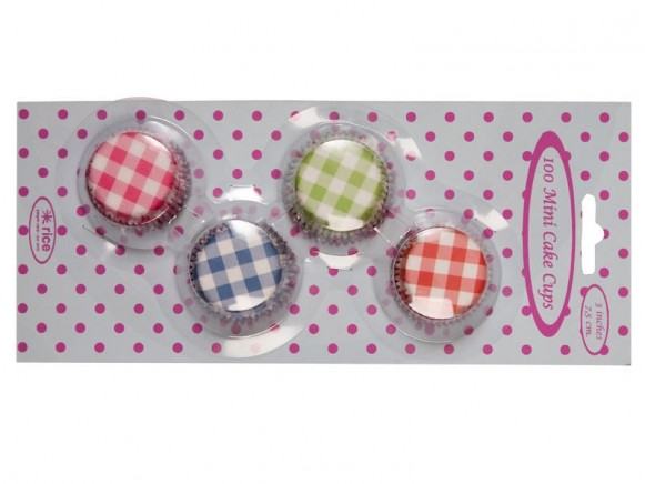 100 mini cake cups in 4 gingham prints by RICE Denmark