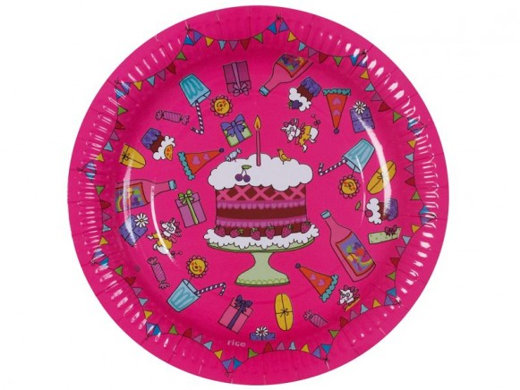 8 large birthday paper plates in fuchsia by RICE Denmark