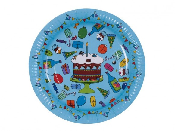 8 small birthday paper plates in turquoise by RICE Denmark