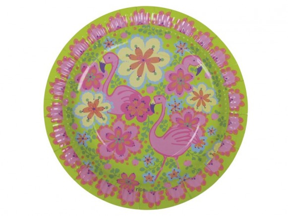 Party time paper plate with flamingo print (8 pieces) by RICE