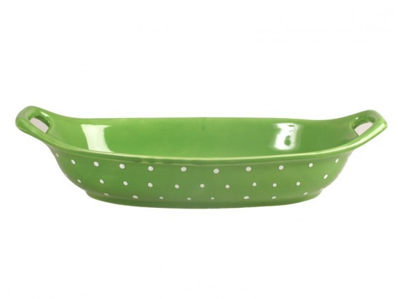 Spaghetti dish in green with white dots by RICE Denmark