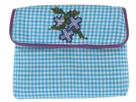 Mini coin purse with cross stitches in blue by RICE