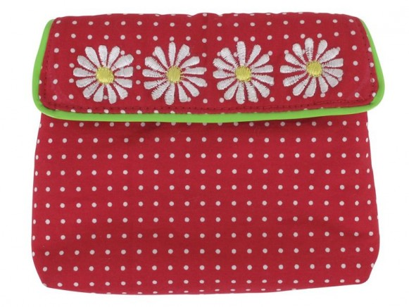 Mini coin purse with dots and embroidery in red by RICE