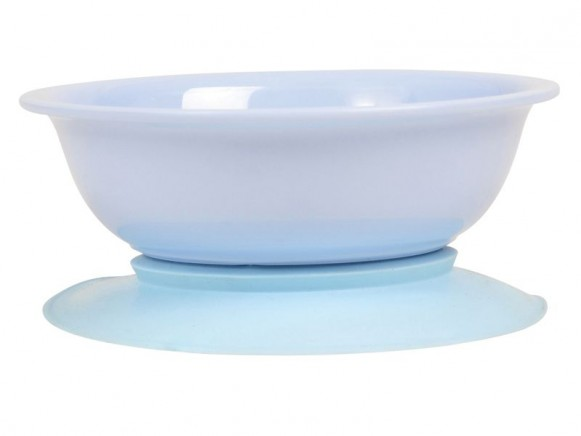 Baby melamine bowl with suction base in solid blue by RICE