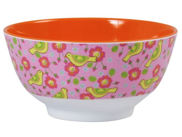 Melamine bowl two tone with bird print by RICE