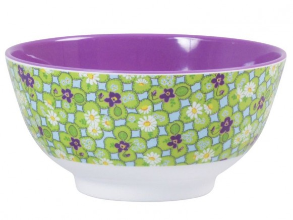 Melamine bowl two tone with clover print by RICE