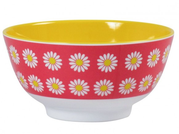 Melamine bowl two tone with coral daisy print by RICE