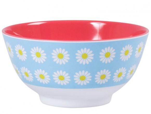 Melamine bowl two tone with mint daisy print by RICE