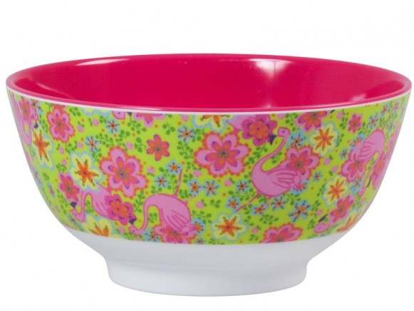 Melamine bowl two tone with flamingo print by RICE