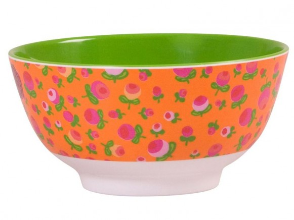 Melamine bowl two tone with bud print by RICE