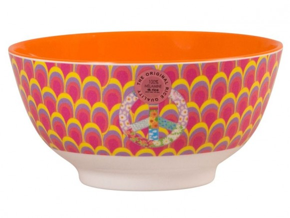 Melamine bowl two tone with peacock tail print by RICE